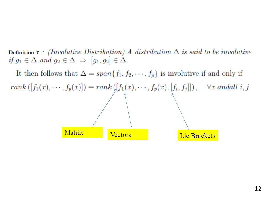 Matrix Vectors Lie Brackets