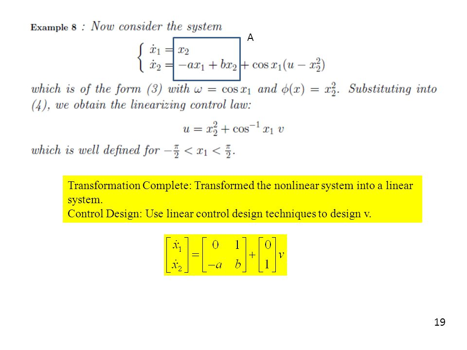 A Transformation Complete: Transformed the nonlinear system into a linear system.