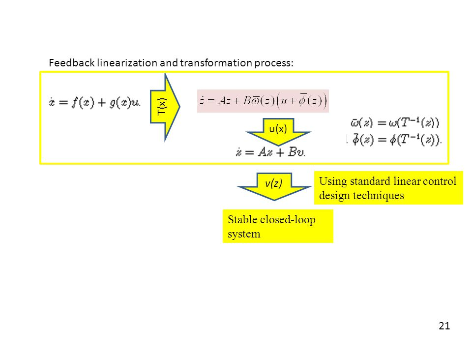 Feedback linearization and transformation process: