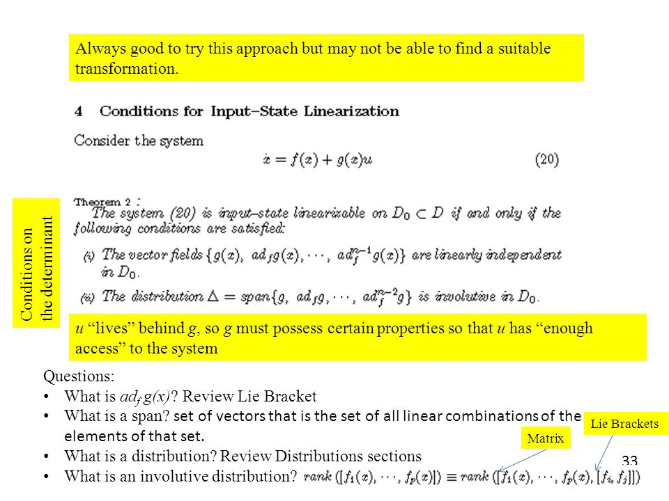 Conditions on the determinant