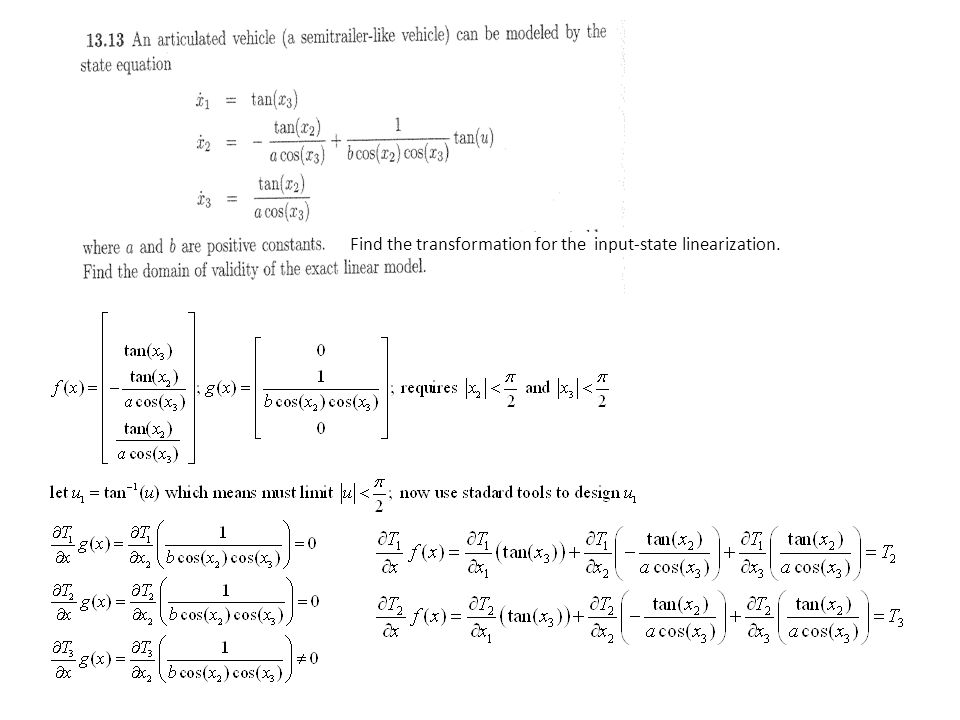 Find the transformation for the input-state linearization.