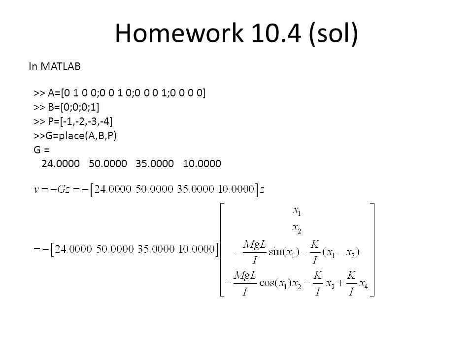 Homework 10.4 (sol) In MATLAB