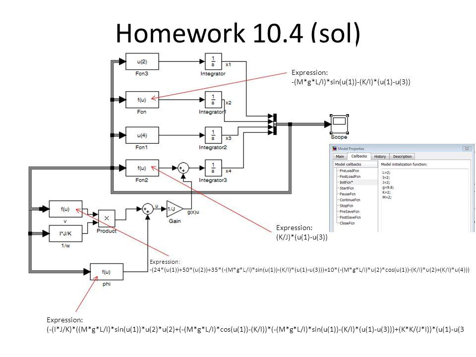 Homework 10.4 (sol) Expression: -(M*g*L/I)*sin(u(1))-(K/I)*(u(1)-u(3))