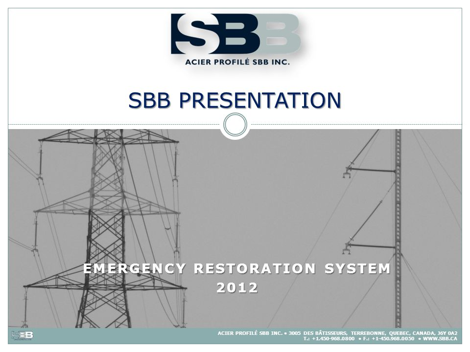 Emergency Restoration system 2012