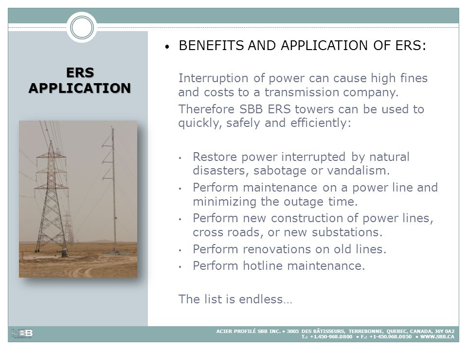 BENEFITS AND APPLICATION OF ERS: ERS APPLICATION