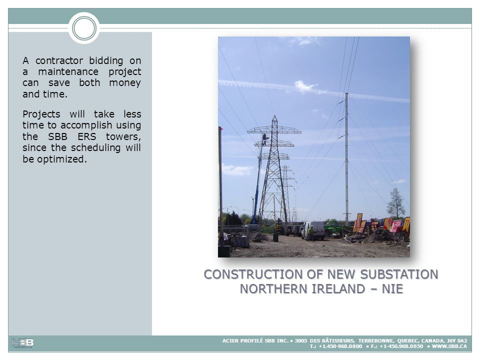 CONSTRUCTION OF NEW SUBSTATION NORTHERN IRELAND – NIE