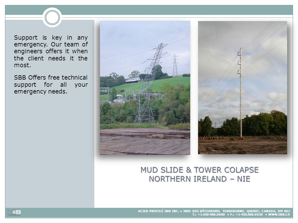MUD SLIDE & TOWER COLAPSE NORTHERN IRELAND – NIE