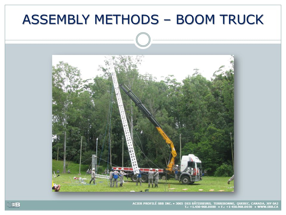 ASSEMBLY METHODS – BOOM TRUCK