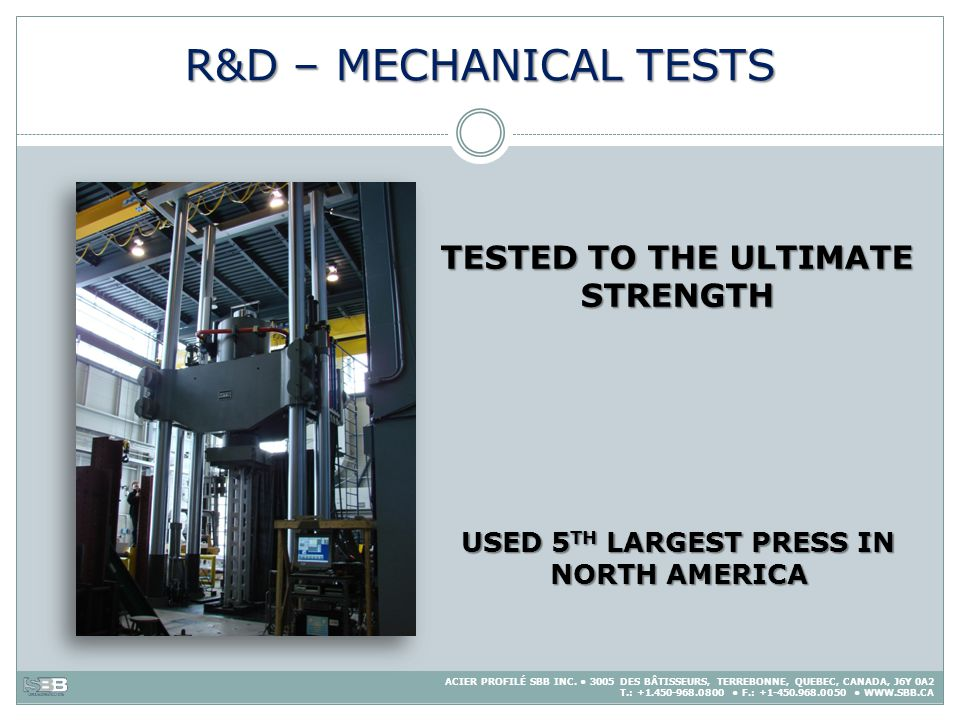 R&D – MECHANICAL TESTS TESTED TO THE ULTIMATE STRENGTH