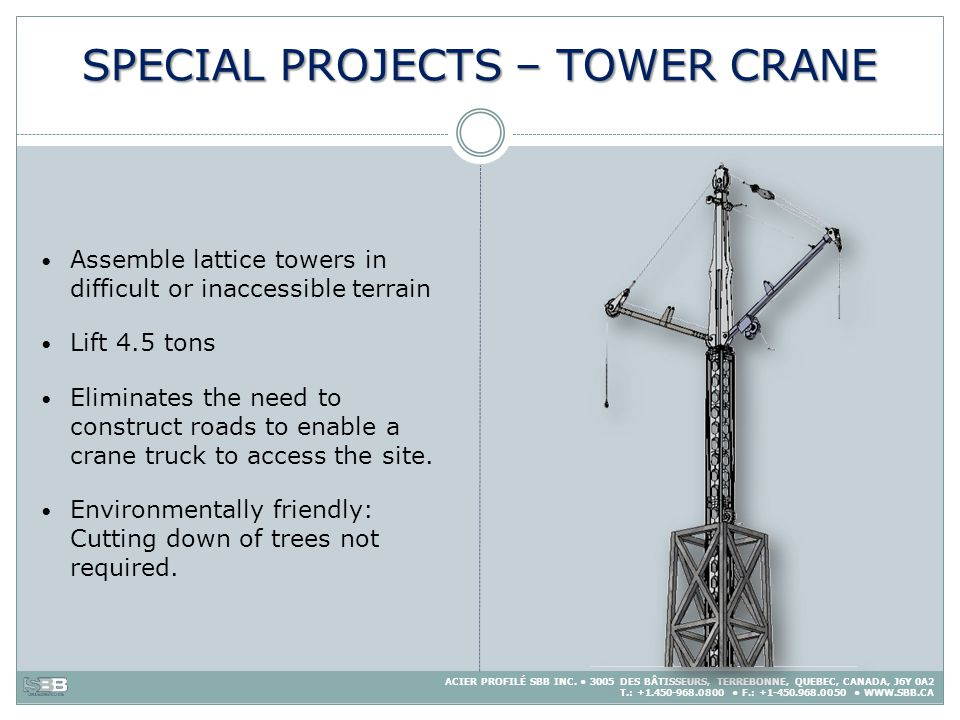 SPECIAL PROJECTS – TOWER CRANE