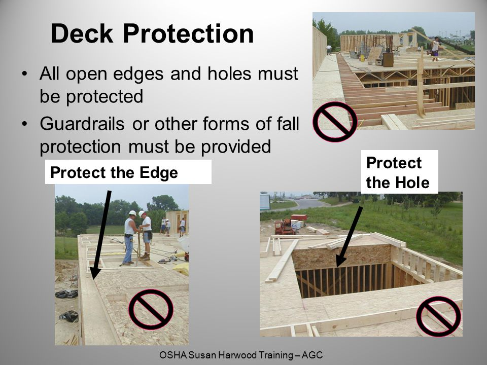 Deck Protection All open edges and holes must be protected