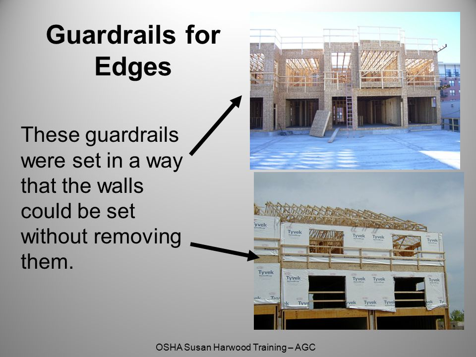 Guardrails for Edges These guardrails were set in a way that the walls could be set without removing them.