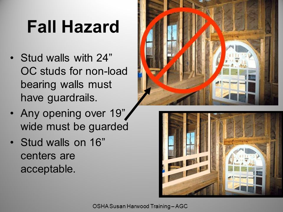 Fall Hazard Stud walls with 24 OC studs for non-load bearing walls must have guardrails. Any opening over 19 wide must be guarded.
