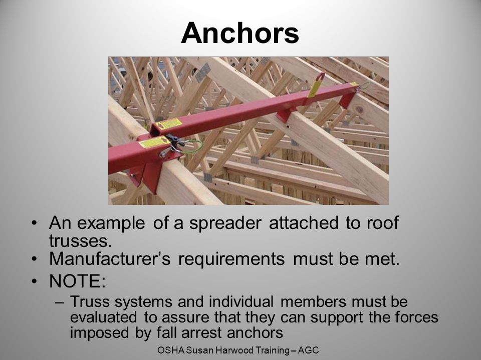 Anchors An example of a spreader attached to roof trusses.