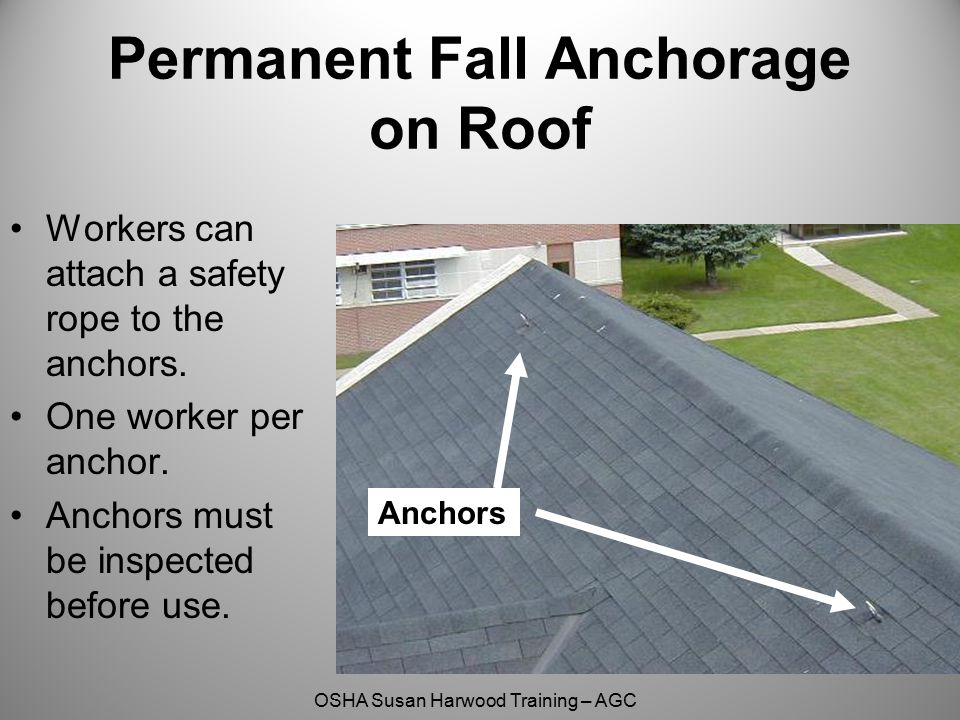 Permanent Fall Anchorage on Roof