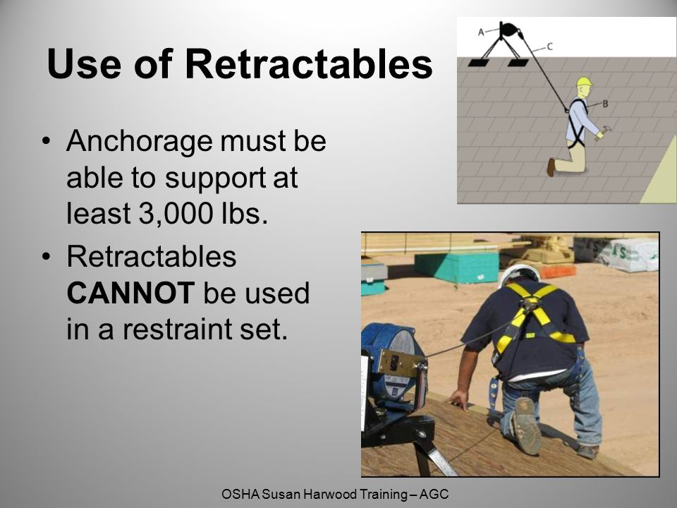 Use of Retractables Anchorage must be able to support at least 3,000 lbs. Retractables CANNOT be used in a restraint set.