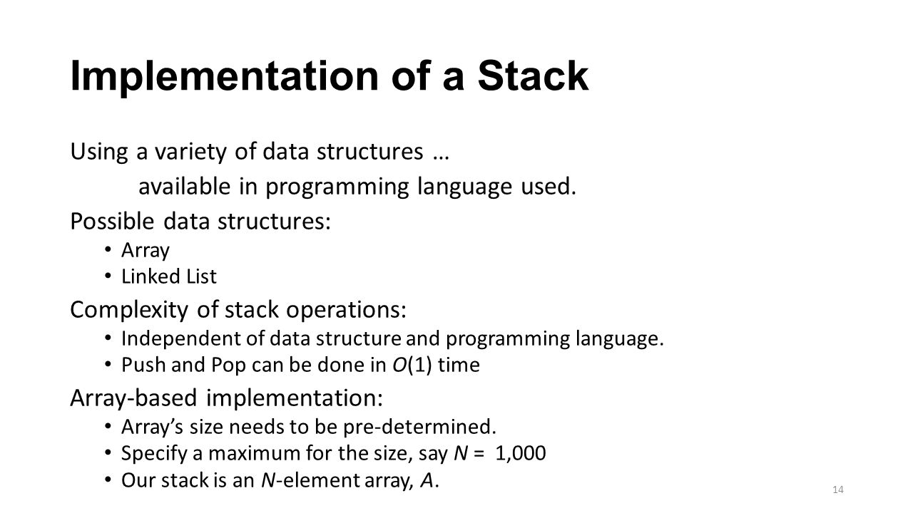 Implementation of a Stack