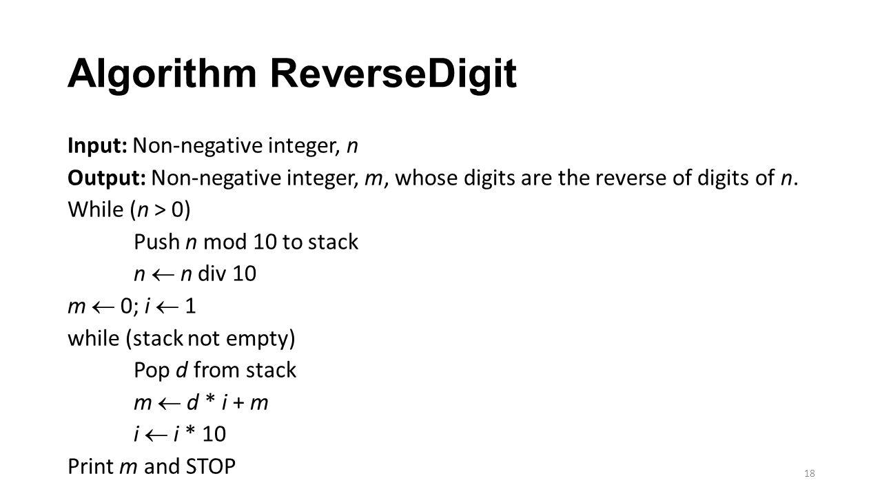 Algorithm ReverseDigit