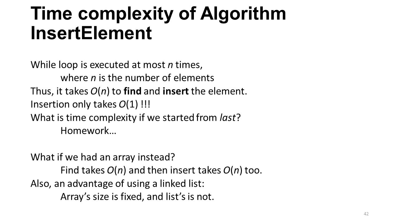 Time complexity of Algorithm InsertElement