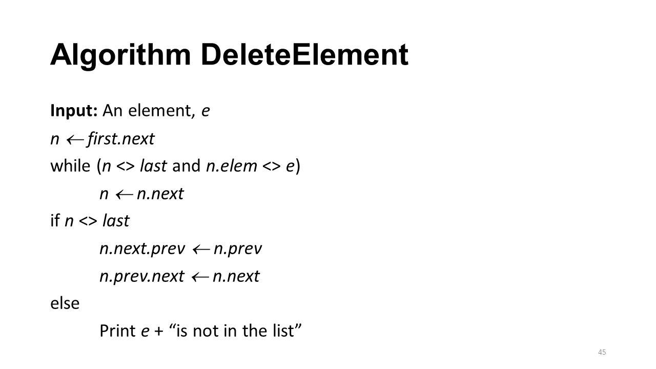 Algorithm DeleteElement