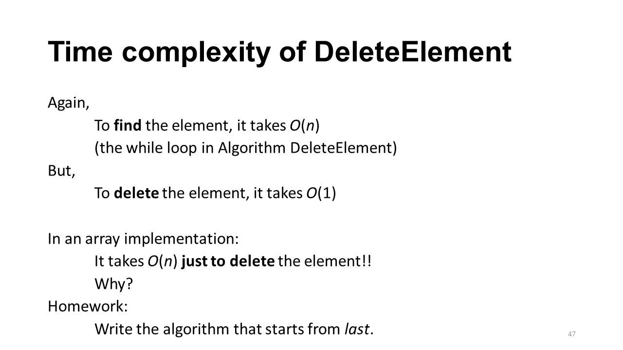 Time complexity of DeleteElement
