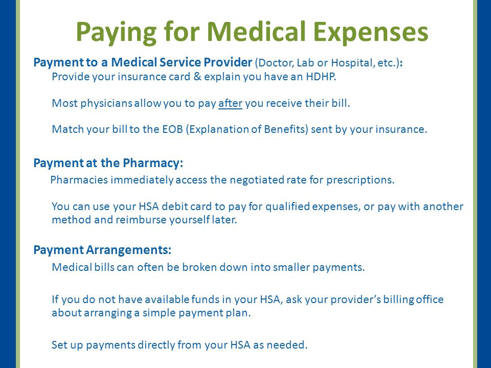 Paying for Medical Expenses
