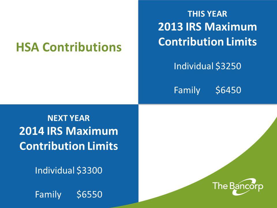 HSA Contributions 2013 IRS Maximum Contribution Limits
