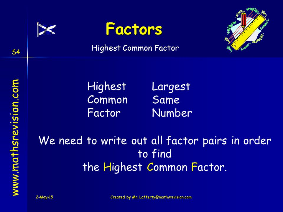 Factors Highest Common Factor Largest Same Number