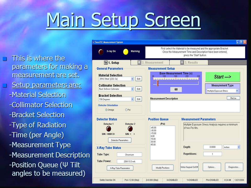 Main Setup Screen This is where the parameters for making a measurement are set. Setup parameters are: