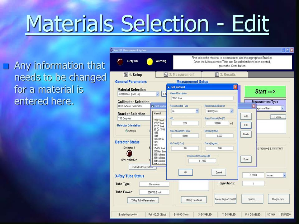 Materials Selection - Edit