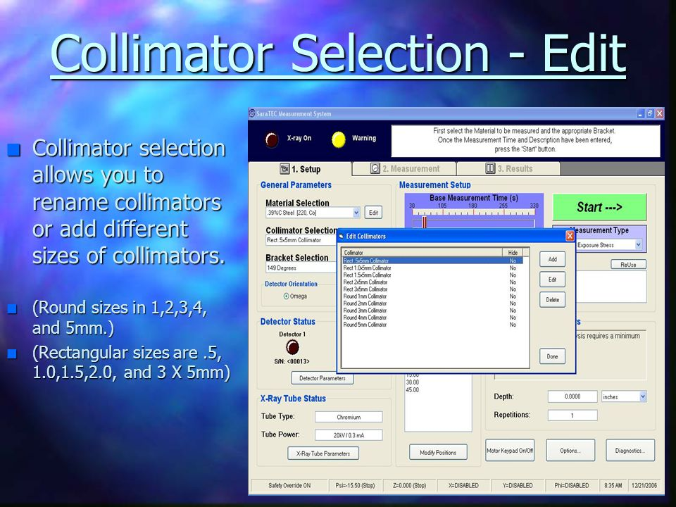 Collimator Selection - Edit