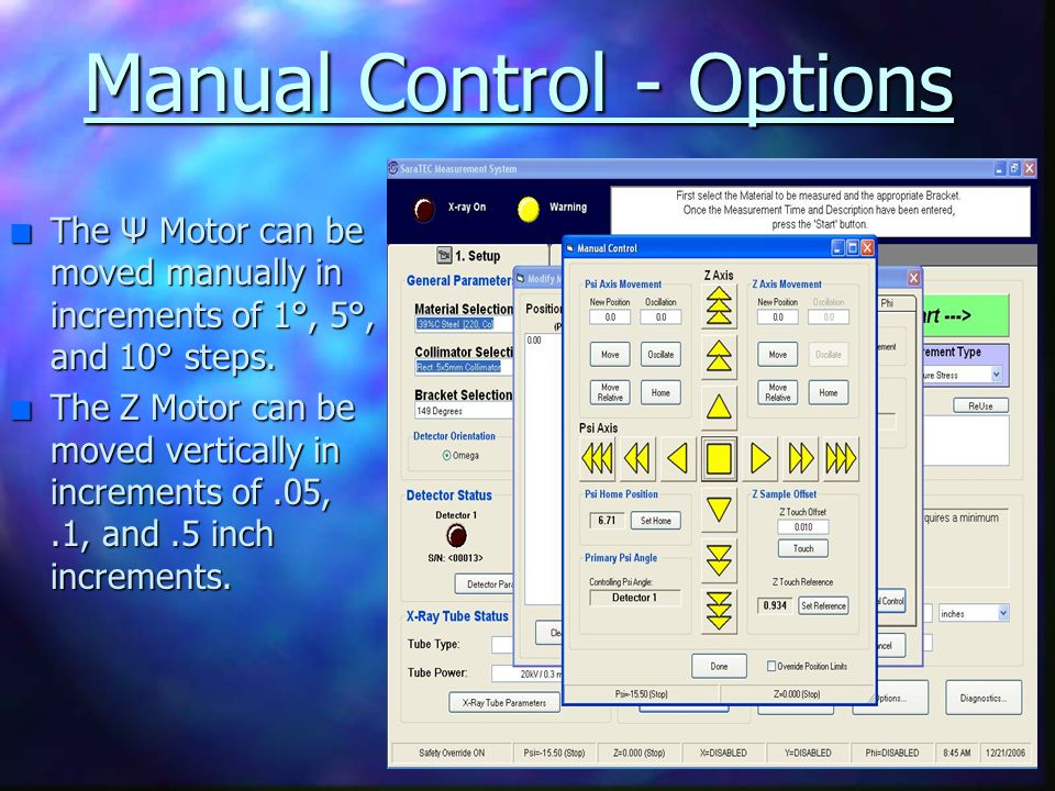 Manual Control - Options