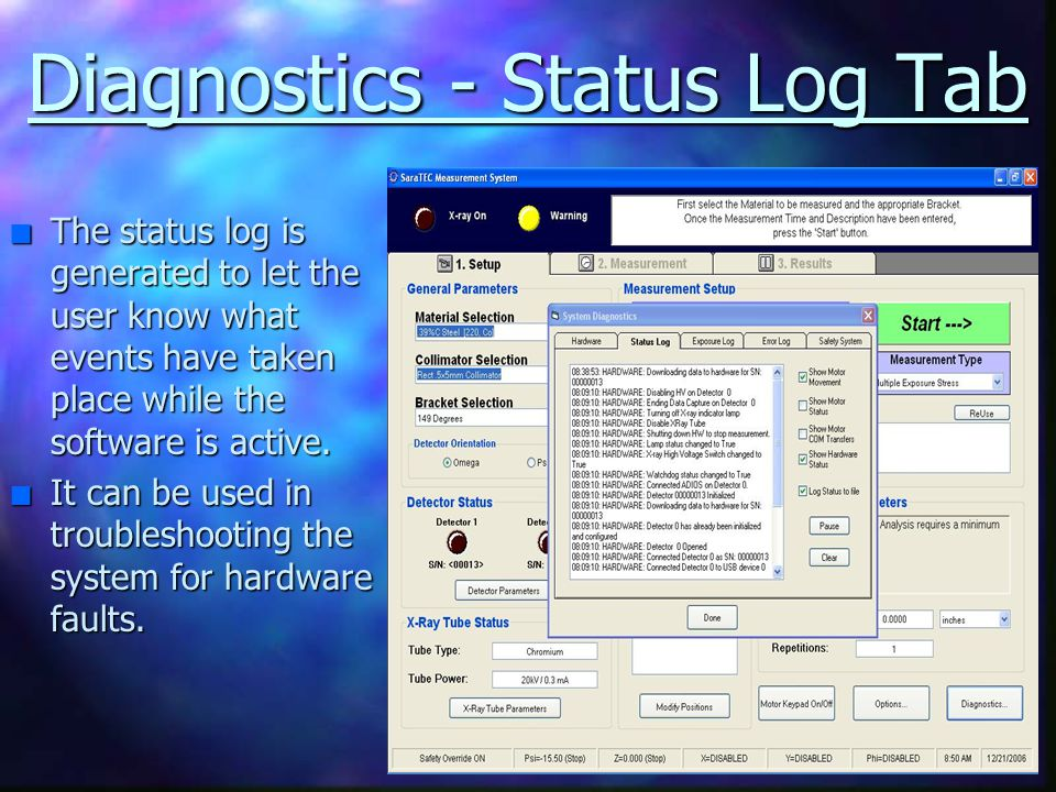 Diagnostics - Status Log Tab