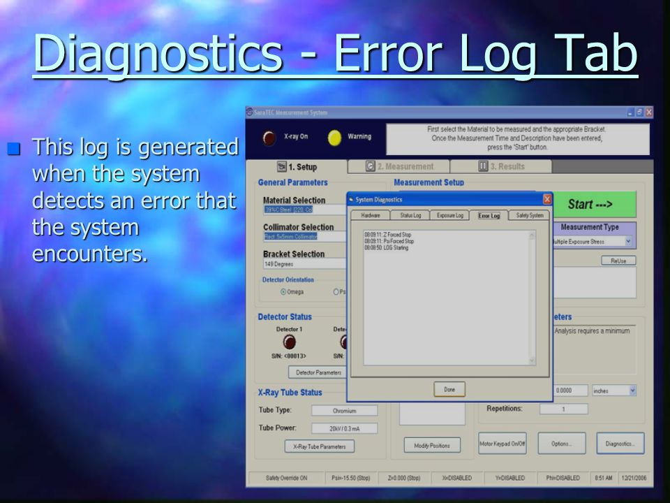 Diagnostics - Error Log Tab