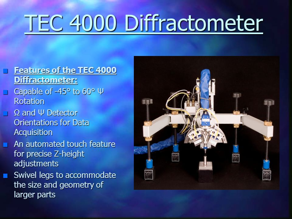 TEC 4000 Diffractometer Features of the TEC 4000 Diffractometer: