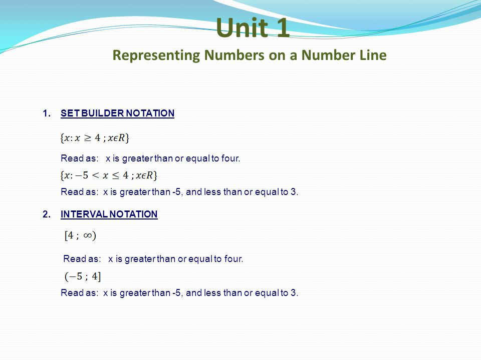 Unit 1 Representing Numbers on a Number Line