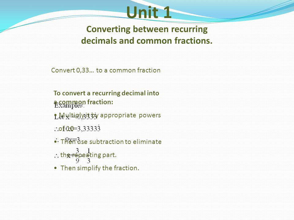 Unit 1 Converting between recurring decimals and common fractions.