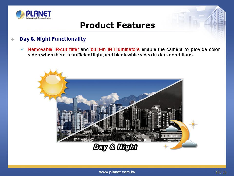 Product Features Day & Night Functionality
