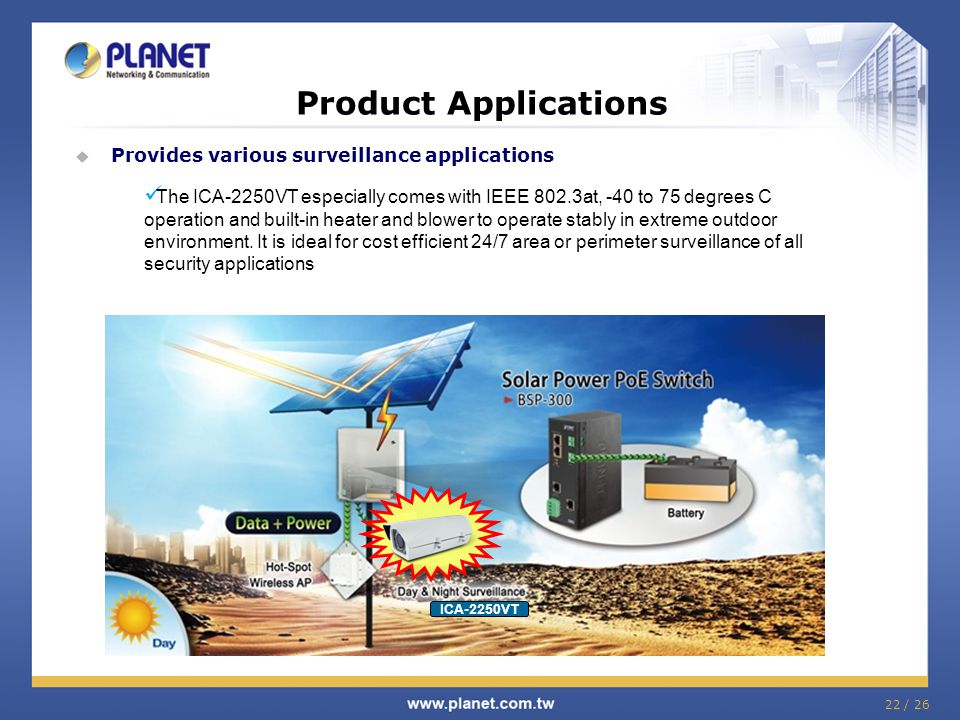 Product Applications Provides various surveillance applications