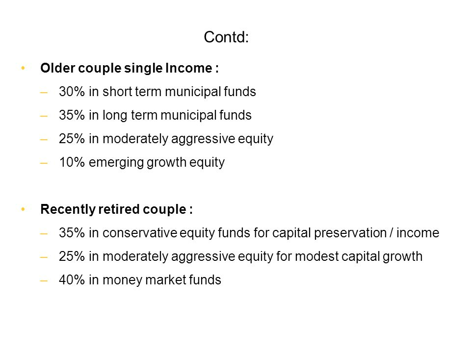 Contd: Older couple single Income : 30% in short term municipal funds