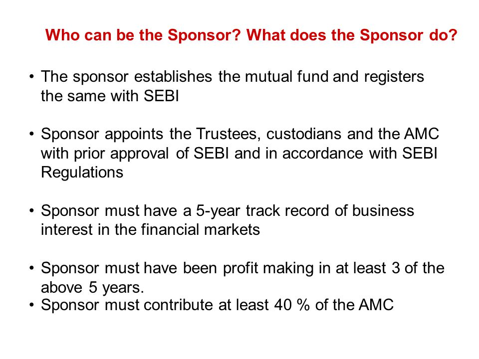 Who can be the Sponsor What does the Sponsor do