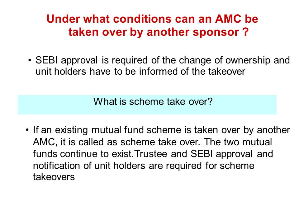 Under what conditions can an AMC be taken over by another sponsor