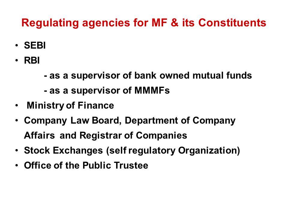 Regulating agencies for MF & its Constituents