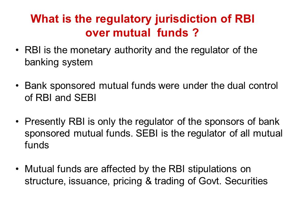 What is the regulatory jurisdiction of RBI over mutual funds