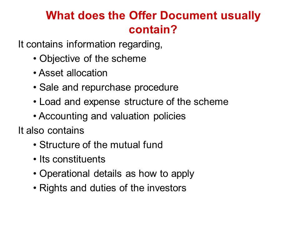 What does the Offer Document usually contain
