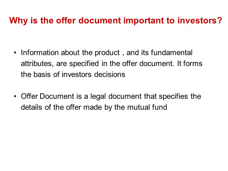 Why is the offer document important to investors