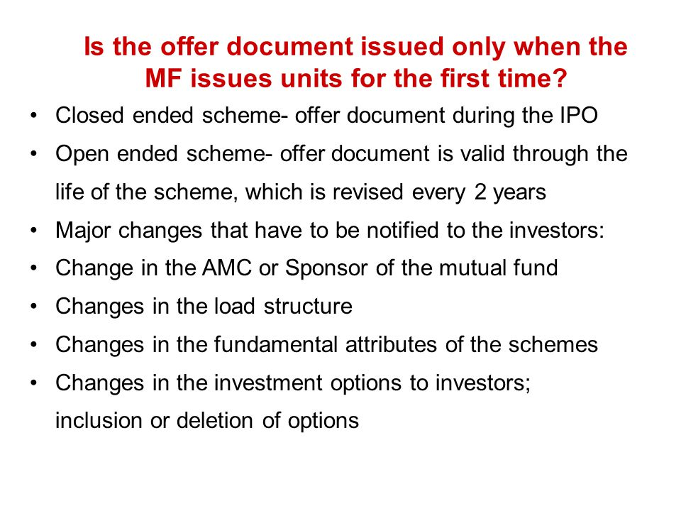 Is the offer document issued only when the MF issues units for the first time