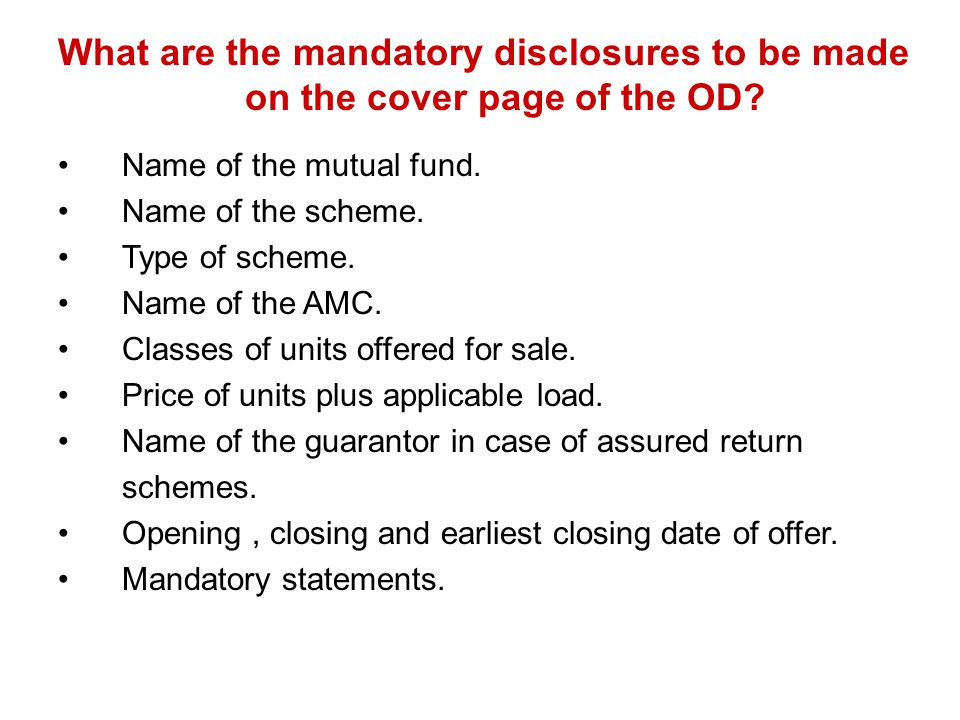 What are the mandatory disclosures to be made on the cover page of the OD