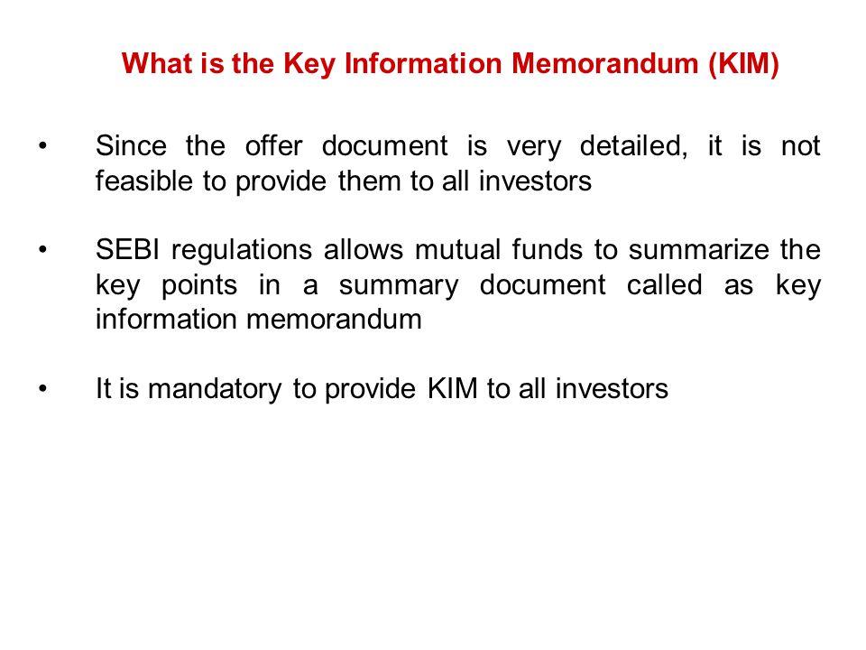 What is the Key Information Memorandum (KIM)
