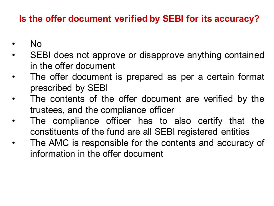 Is the offer document verified by SEBI for its accuracy